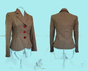 """Fully lined and tailored vegan jacket in a beautiful rustic linen with fine rust check detail. Bust 34"""" Waist 26"""" £285 and available on Etsy as emeraldmoonbykim"""
