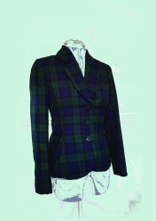 "Fully lined and tailored vegan jacket in blackwatch tartan. Bust 34"" Waist 26"" £250 and available on Etsy as emeraldmoonbykim"